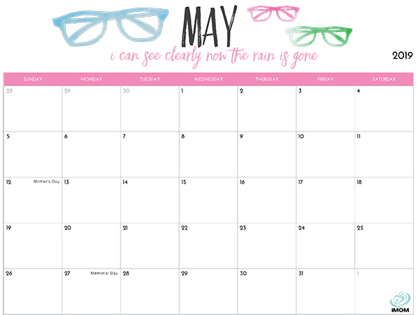 photo relating to Printable May Calendars identify 2019 Printable Calendar for Mothers - iMom