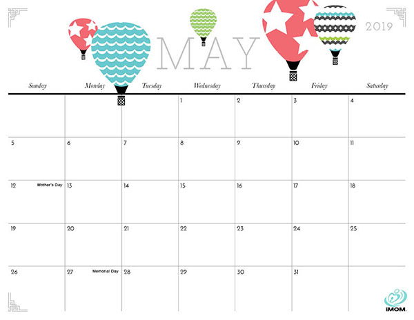photo about Printable May Calendars known as Lovely and Cunning 2019 Calendar - iMom