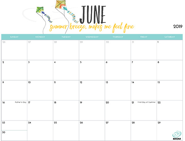 2018 Printable Calendar for Moms - iMom