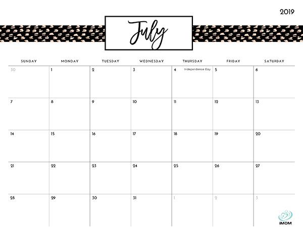 Pretty Patterns 2019 Printable Calendar iMom
