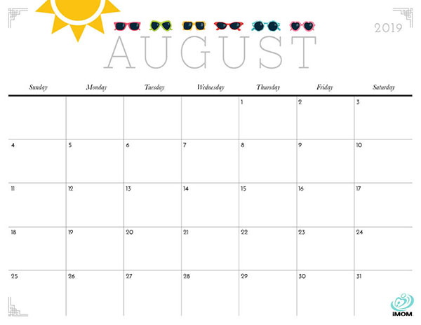 graphic relating to Printable Calendar Cute identified as Adorable and Cunning 2019 Calendar - iMom