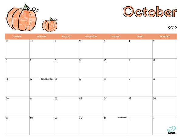 image relating to October Printable Calendar named 2019 Absolutely free Printable Calendar for Little ones - iMom