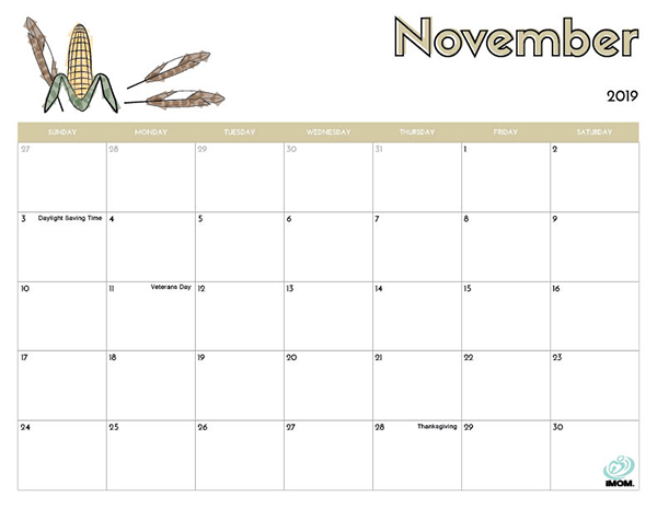 graphic relating to Free Printable November Calendar identify 2019 Cost-free Printable Calendar for Youngsters - iMom