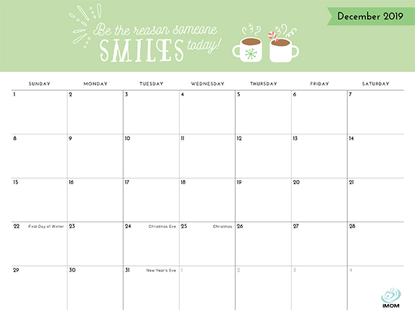Positive Thoughts Printable 2019 Calendar - iMom