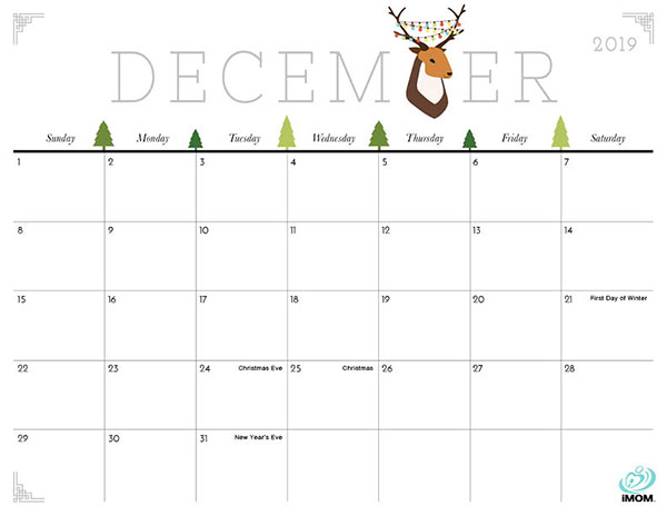 graphic about Calendar December Printable called Lovable and Cunning 2019 Calendar - iMom