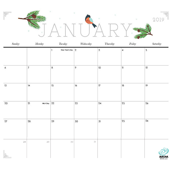 Printable 2019 January Calendar Cute Cute and Crafty 2019 Calendar   iMom
