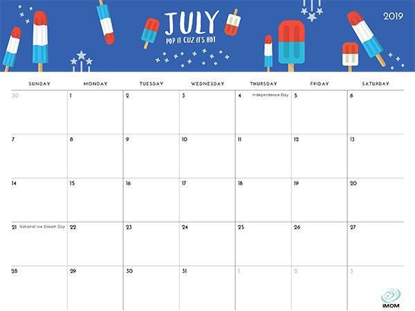 2019 printable calendar