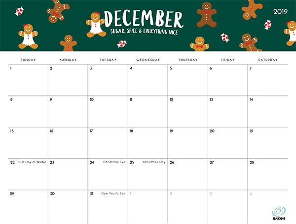 December Christmas Calendar 2019 The Foodie Collection 2019 Calendar   iMom
