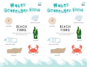 spring activities for kids water scavenger hunt
