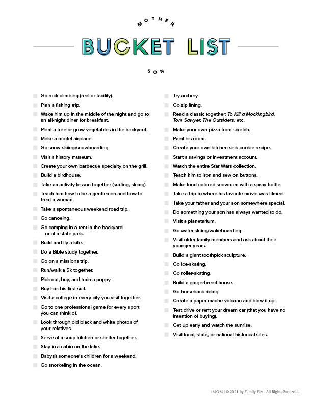 mother son bucket list