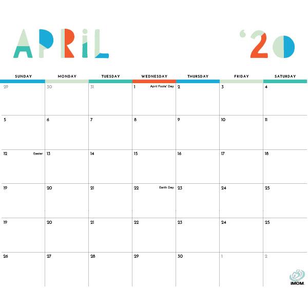 2020 Colorful Printable Calendar For Moms