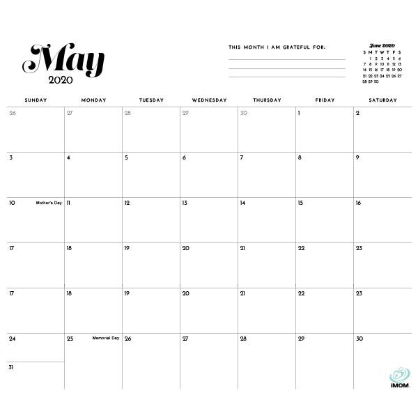 2020 Simple Printable Calendar For Moms