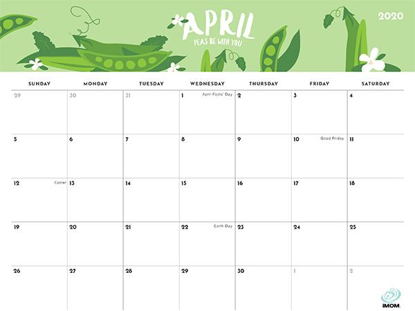 2020 Foodie Printable Calendar For Moms Imom