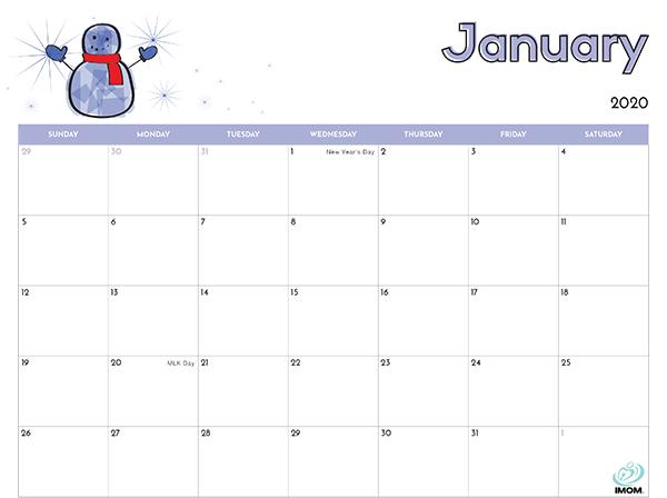 2020 Printable Calendar For Kids Imom