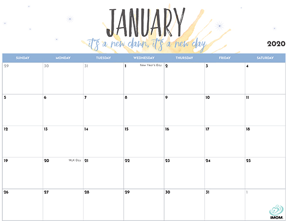 Free Calendar 2020 Printable.2020 Printable Calendar For Moms Imom