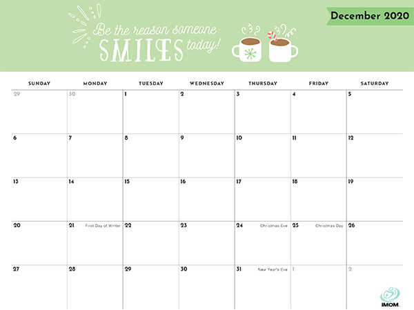 positive thoughts printable calendar