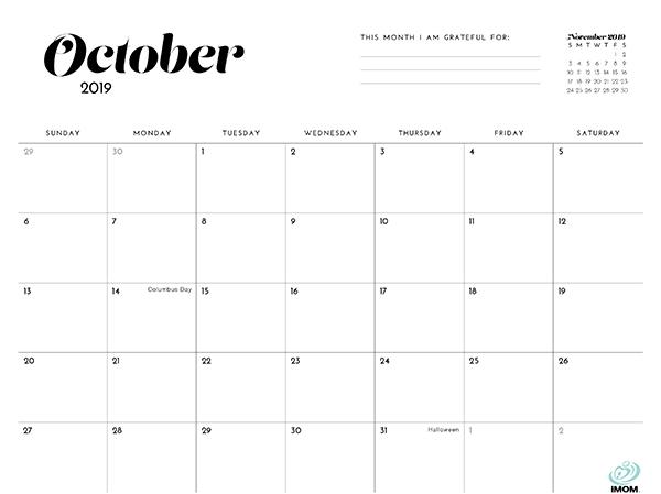 2019 Simple Printable Calendar For Moms Imom
