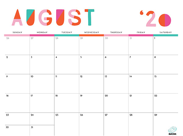 colorful printable calendar