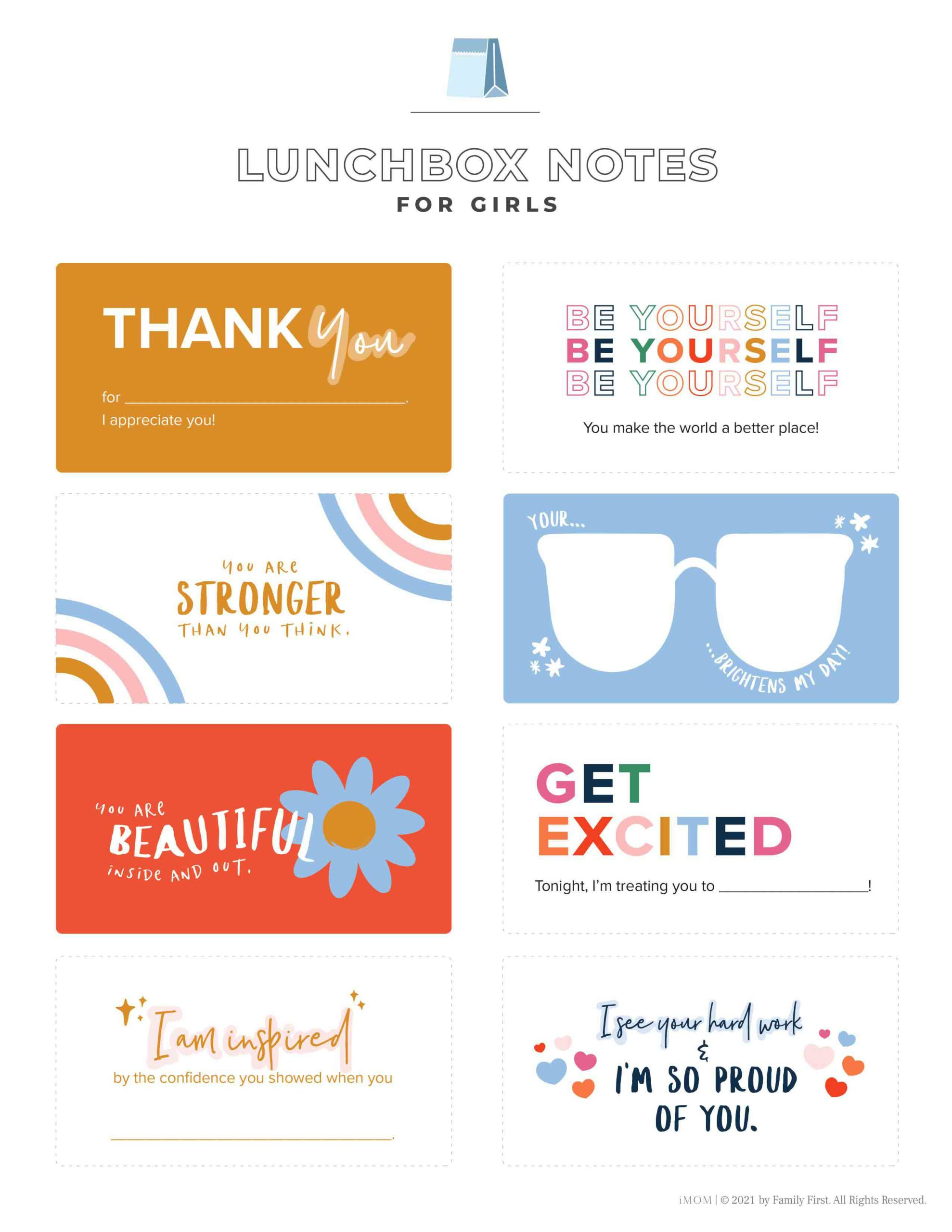 lunchbox notes for girls