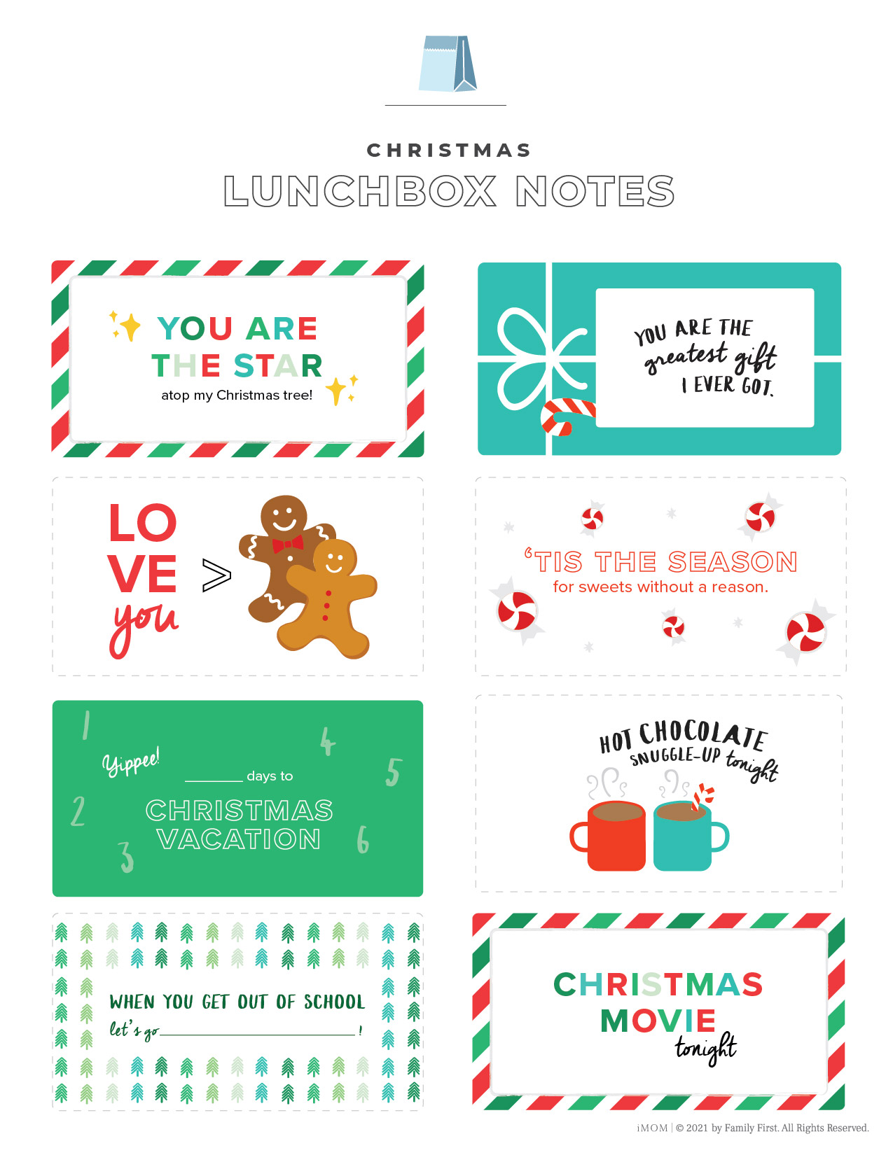 free printable christmas lunchbox notes