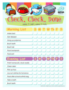 morning routine for school check list