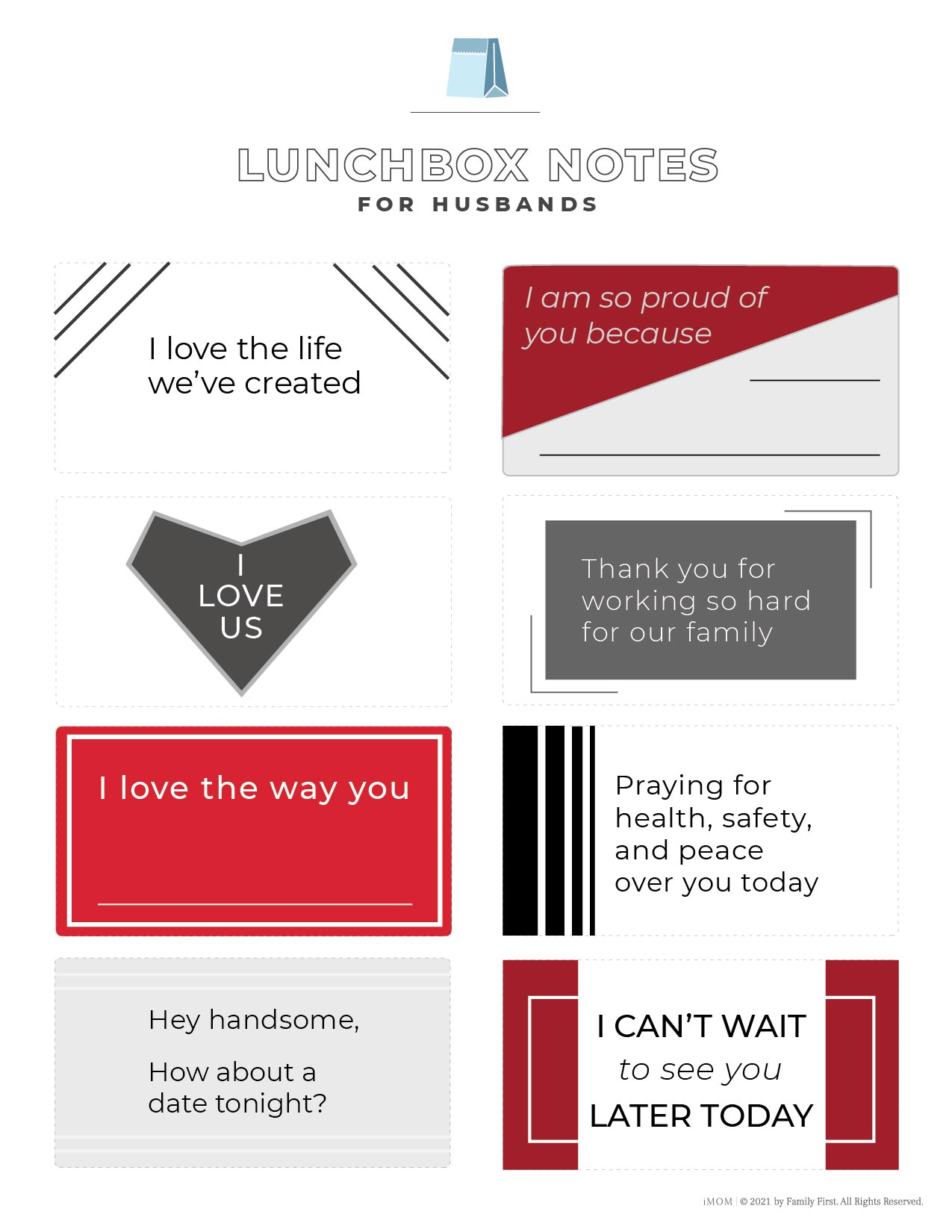 free printable lunchbox notes for husbands