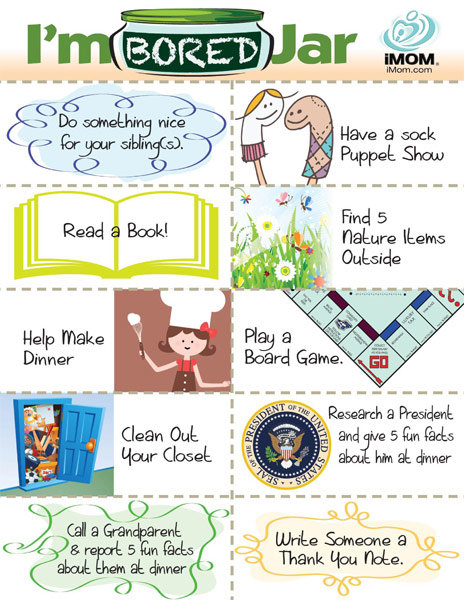 spring activities for kids I'm bored jar