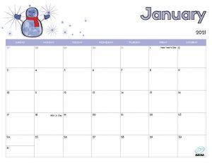 printable calendar for kids January 2021