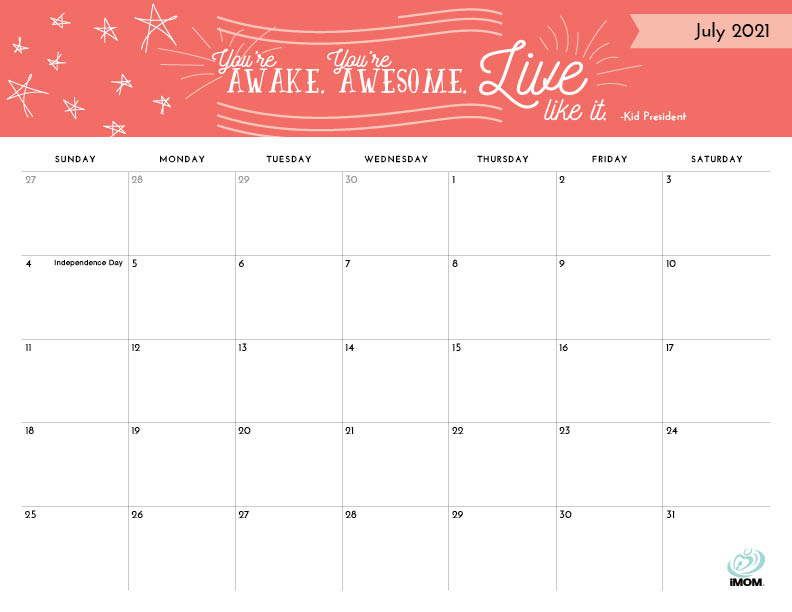 positive thoughts printable calendar