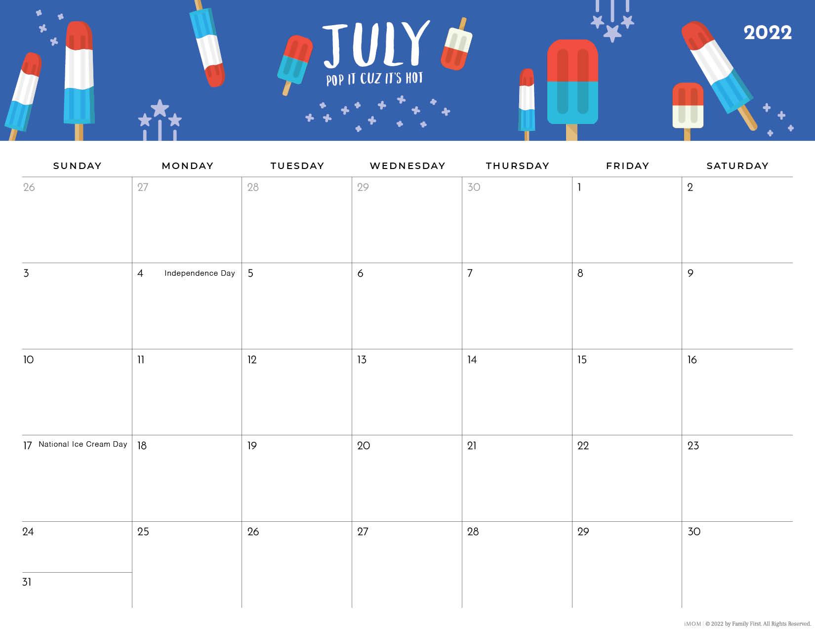 2022 july foodie printable calendar