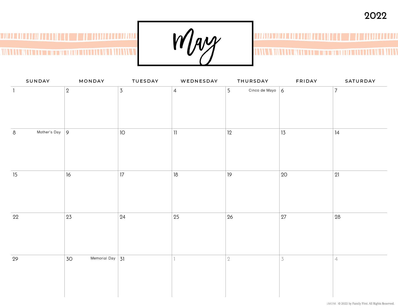 2022 may pretty printable calendar