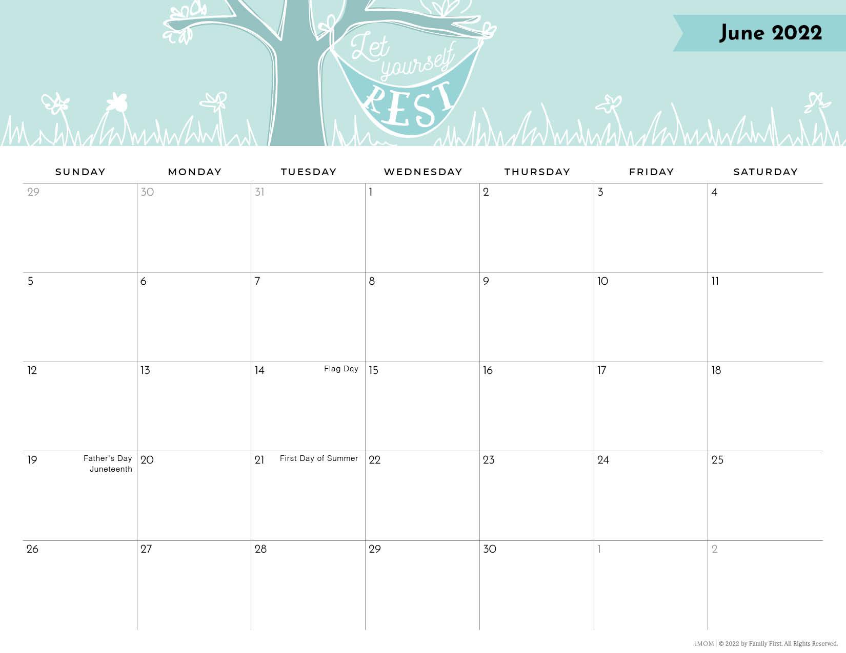 2022 June positive thoughts printable calendar