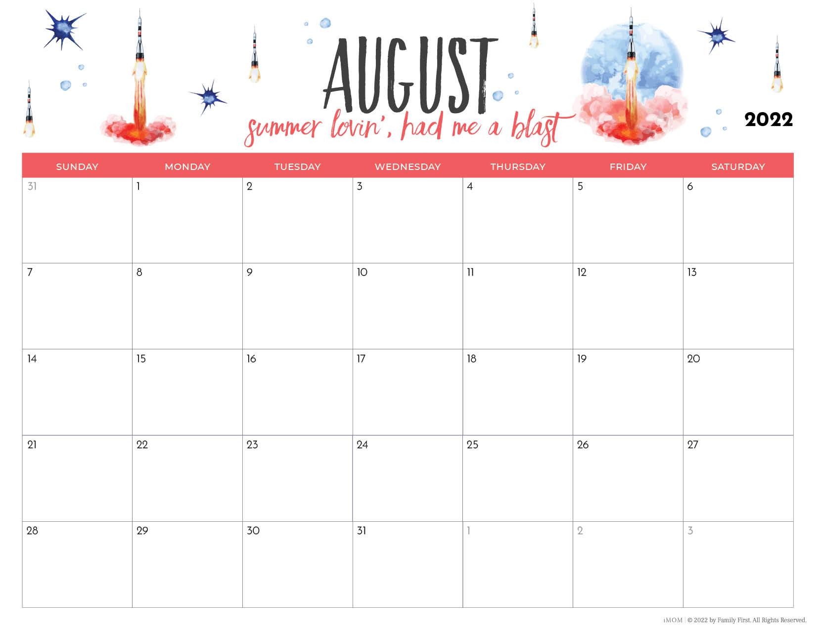 2022 august printable calendar