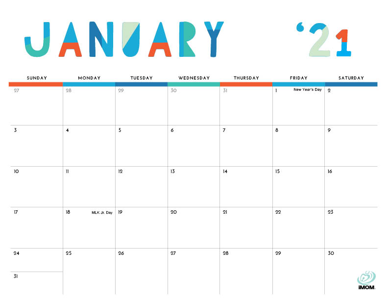 2020 and 2021 Colorful Printable Calendar for Moms - iMom