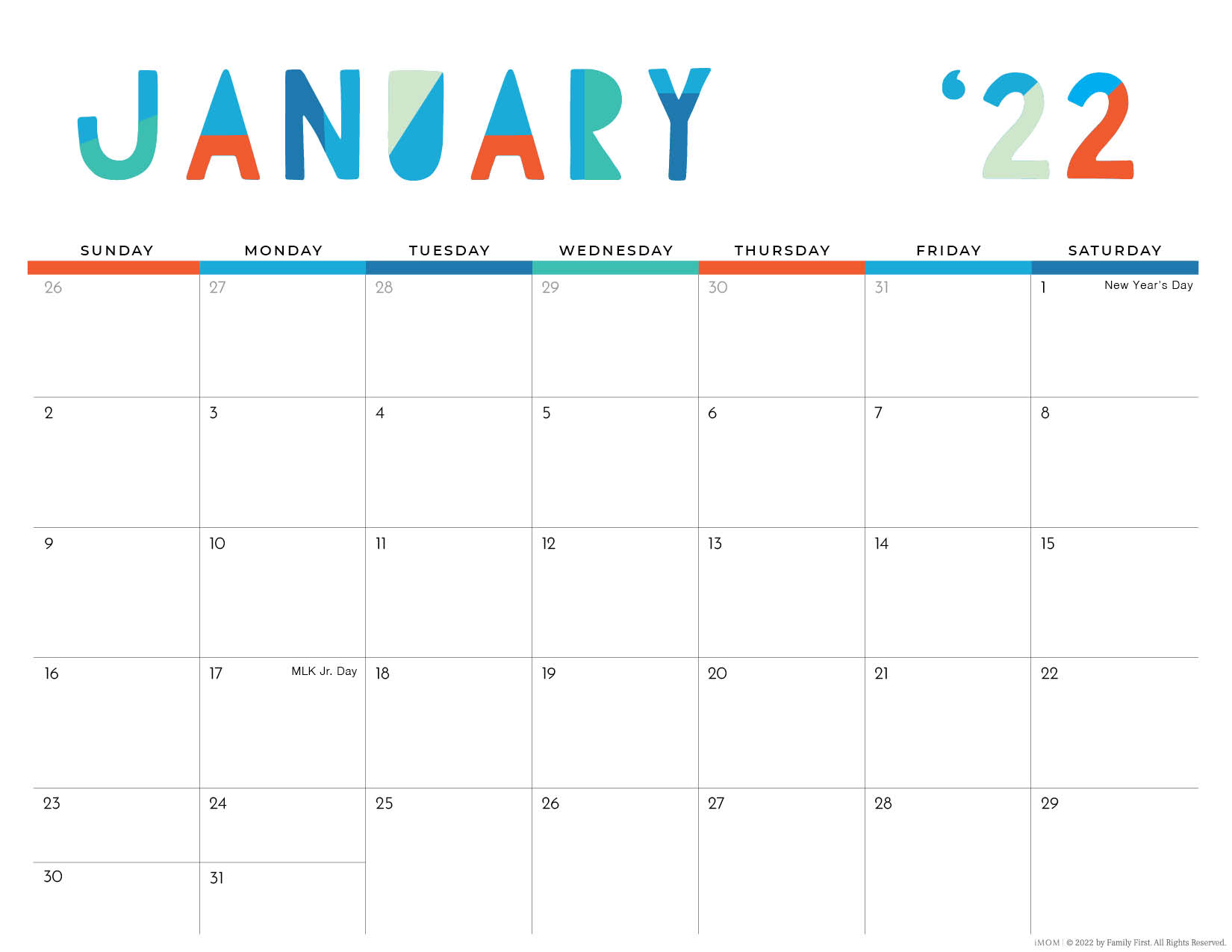 2022 january colorful printable calendar