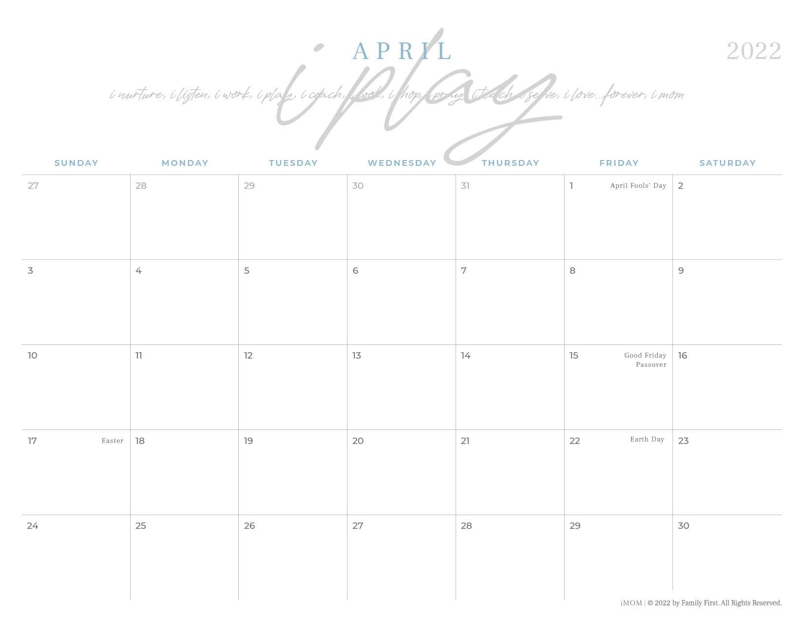 2022 april imom calendar