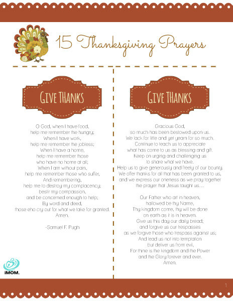 Thanksgiving Prayers Printable