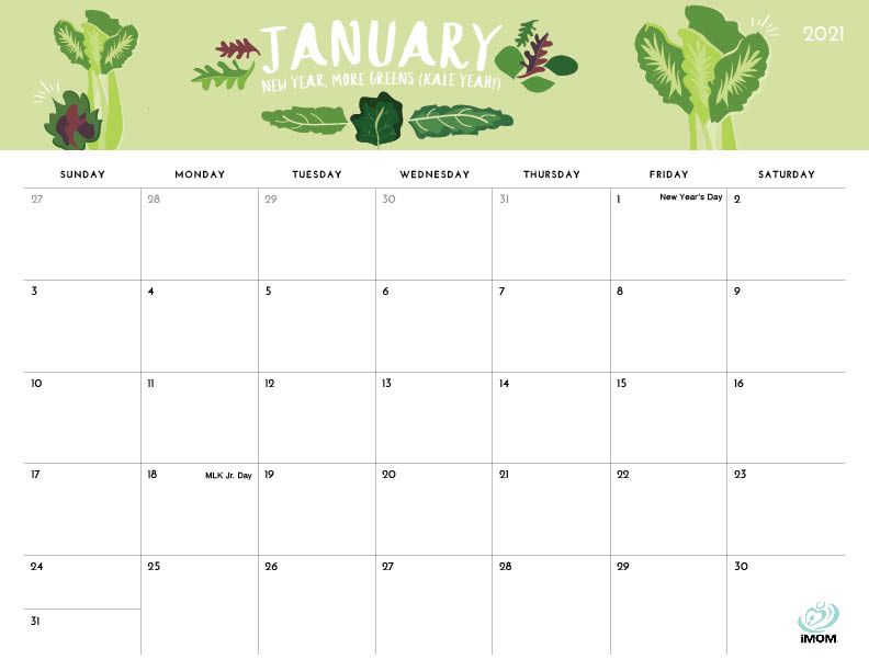 foodie printable calendar January 2021