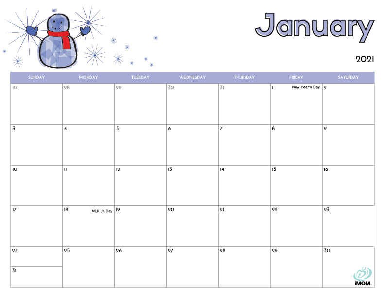 printable calendar for kids January 2021