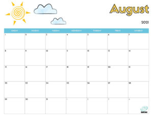 printable calendar for kids August 2021