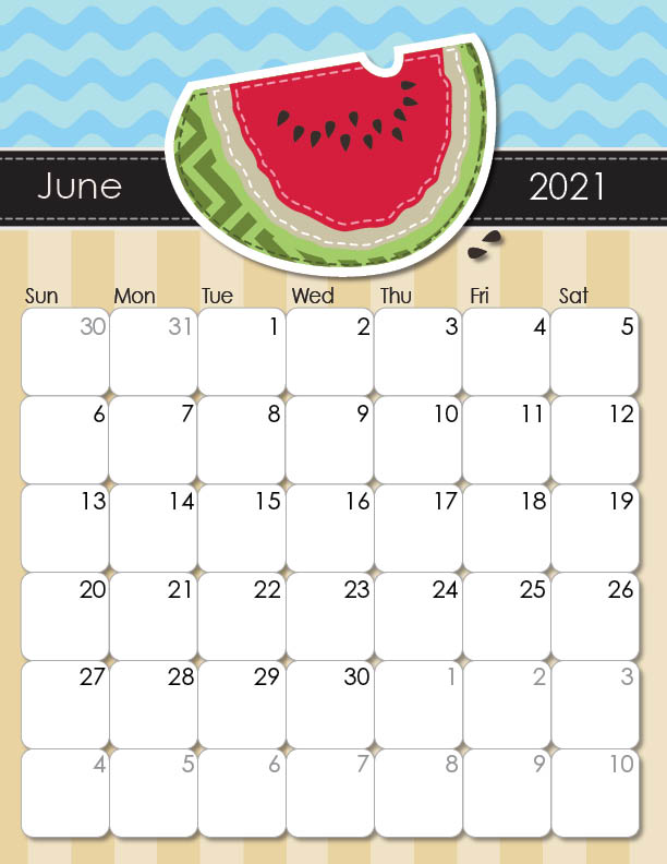 whimsical printable calendar June 2021