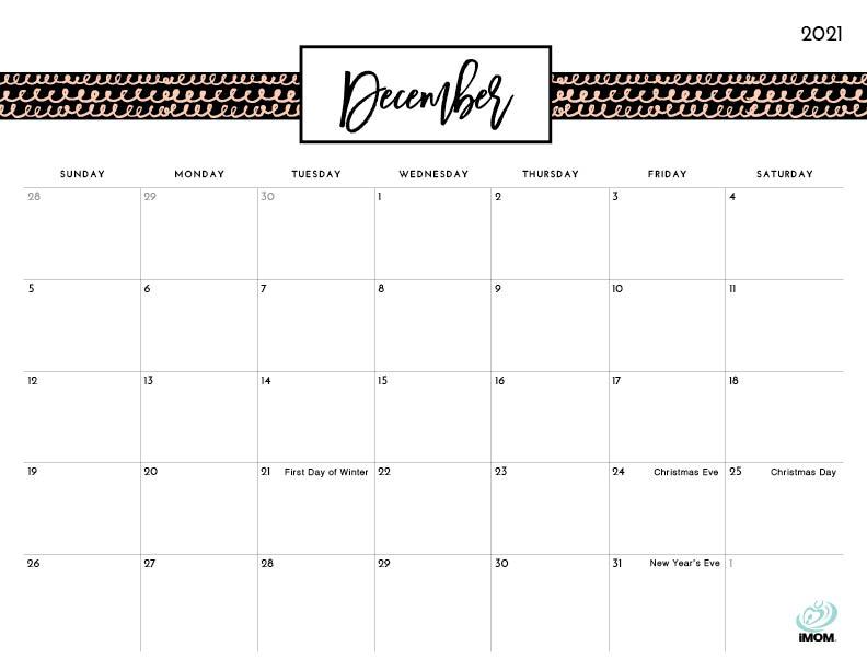 pretty printable calendar December 2021