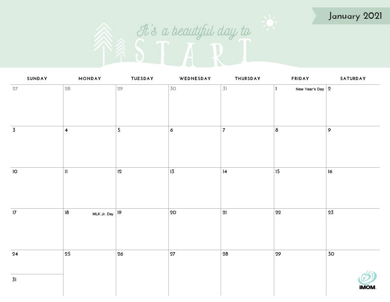 2020 and 2021 Positive Thoughts Printable Calendars for ...