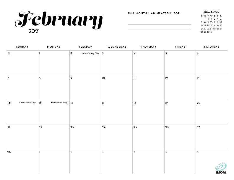 2020 and 2021 Simple Printable Calendar for Moms - iMom