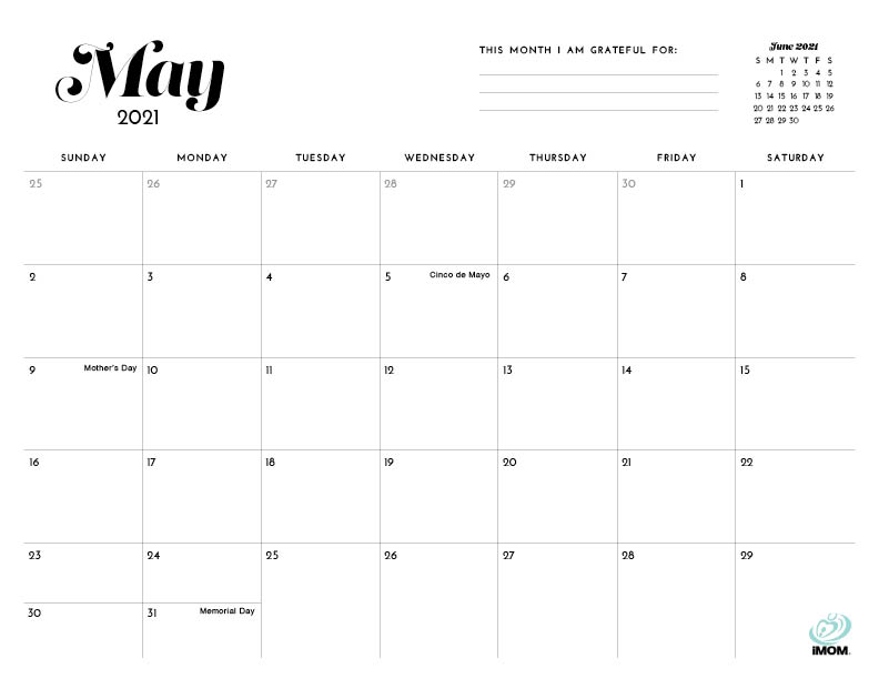 simple printable calendar May 2021