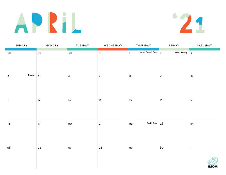 colorful printable calendar April 2021