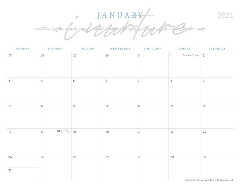 Activity Calendar Template 2021 Background