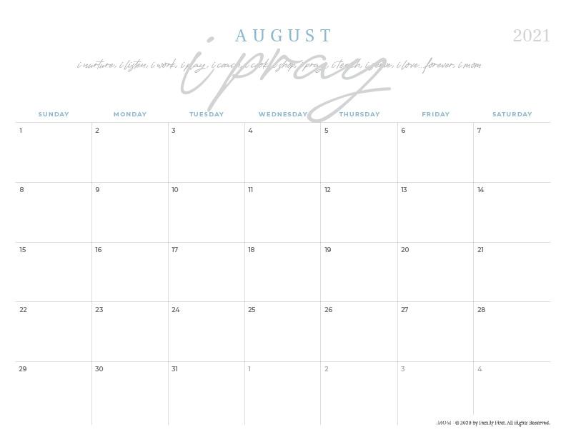 2021 Mom is a Verb Printable Signature iMOM Calendar - iMom