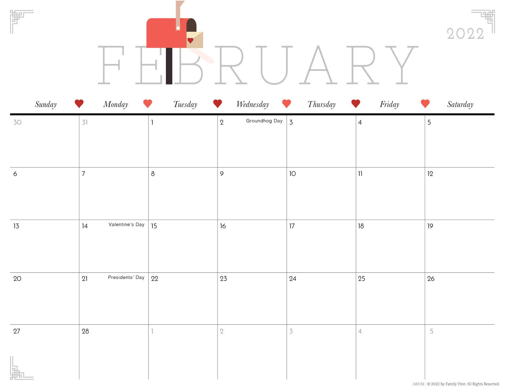 2022 February cute printable calendar